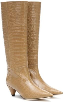 Joseph Croc-effect knee-high boots