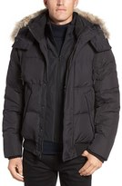 Andrew Marc Men's Rockport Quilted Down & Feather Bomber Jacket With Genuine Coyote Fur Trim