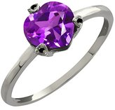 Gem Stone King 1.07 Ct Heart Shape Purple Amethyst and Black Diamond 18k White Gold Ring