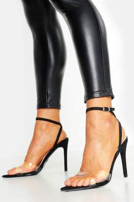 boohoo Pointed Toe Two Part Clear Strap Heels