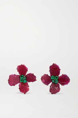 Bina Goenka 18-karat Gold, Ruby And Emerald Earrings - Red