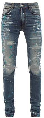Amiri Paint Splatter Distressed Slim-leg Jeans - Mens - Indigo