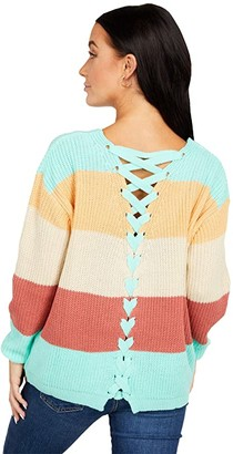 Rock and Roll Cowgirl Color-Block Sweater w/ Back Lace-Up Detail 46-6321 (Multi Stripe) Women's Clothing