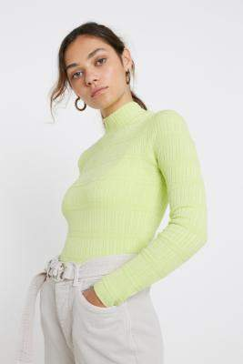 Urban Outfitters Ribbed Funnel Neck Top - green M at