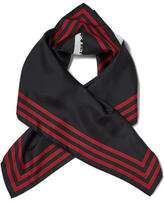Kenzo Silk Painted Logo Square Scarf Black