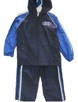 Cars Little Boys Blue Athletic Zipper Hooded Striped 2 Pc Pants Set