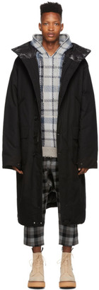 R 13 Black Down Long Anorak Puffed Jacket