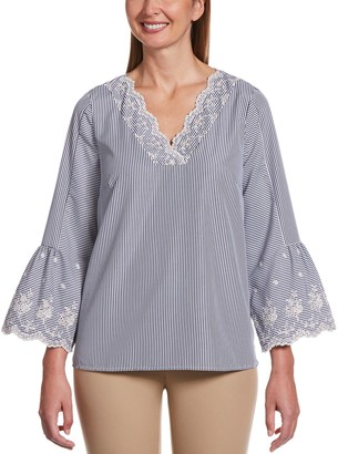 Rafaella Women's Striped Bell Sleeve Embroidered Top