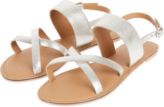 Monsoon Metallic Leather Cross-Over Sandals Silver