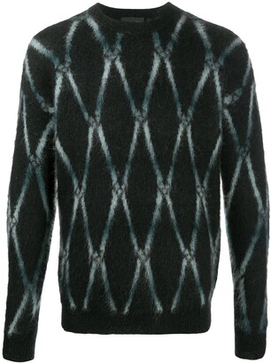 Roberto Collina Long Sleeve Argyle Knit Jumper