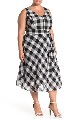 Rachel Roy Raj Checked Midi Dress (Plus Size)