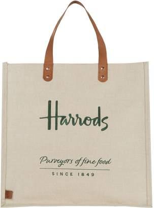 Harrods Embroidered Jute Grocery Shopper Bag