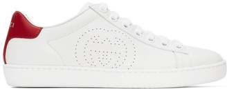 Gucci White and Red Interlocking G Ace Sneakers