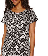 Sag Harbor Animal Instinct Short-Sleeve Print Top