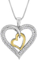 JCPenney FINE JEWELRY 1/5 CT. T.W. Diamond Two-Tone Double Heart Pendant Necklace