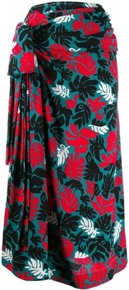 Marni Eyed Leaves print draped a-lined skirt