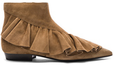 J.W.Anderson Suede Ruffle Booties in Brown.