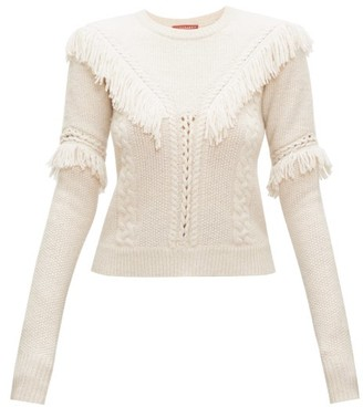 Altuzarra Buckeye Fringed Cable-knitted Sweater - Womens - Ivory