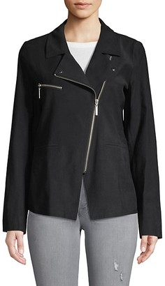 Nicole Miller Asymmetric Long-Sleeve Moto Jacket