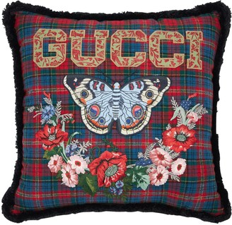 Gucci Embroidered Vintage Check Pillow