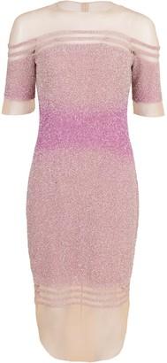 Pamella Roland Off-Shoulder Illusion Sequin Dress