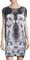 Max Studio Floral-Print Shift Dress, Mirrored Black Rose