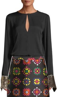 Milly Mara Stretch-Silk Top w/ Sequin Cuffs