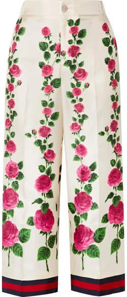 Gucci Cropped Grosgrain-trimmed Floral-print Silk-twill Wide-leg Pants - Ecru