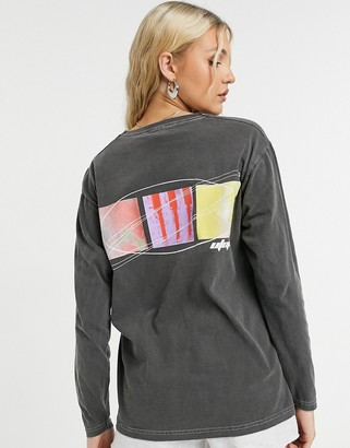 Topshop 'utopia' long-sleeved skater t-shirt in charcoal