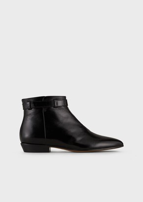 Emporio Armani Crinkled-Leather, Pointed-Toe, High-Heeled Ankle Boots