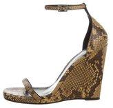 Saint Laurent Snakeskin Ankle Strap Wedges