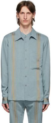 Ann Demeulemeester Blue and Gold Stripe Shirt