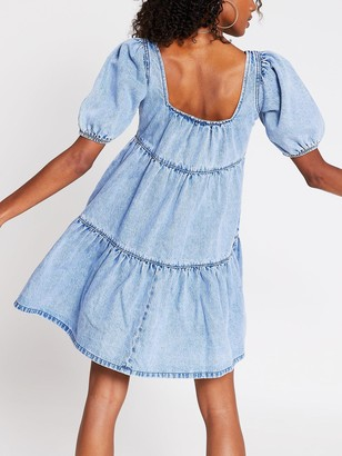 River Island Denim Smock Dress - Light Blue