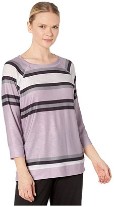 Tribal 3/4 Sleeve Raglan Top (Lilac) Women's Clothing