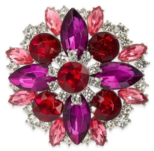 Charter Club Silver-Tone Multicolor Crystal Cluster Pin, Created for Macy's