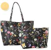 Diophy PU Leather Colorful Floral Pattern Two Tone Reversible Tote Womens Purse Handbag with Matching Crossbody Bag 2 Pieces Set FL-6000