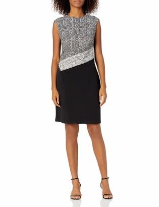 Sandra Darren Women's 1 PC Extended Shoulder Bullet Knit Sheath Dress Black/Ivory 16