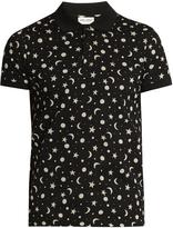 Saint Laurent Star and moon-print cotton-piqué polo shirt