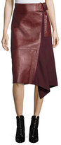 3.1 Phillip Lim Leather-Wool Flight Detail Skirt, Crimson