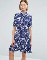 Closet London 3/4 Sleeve Leaf Print High Neck Skater Dress