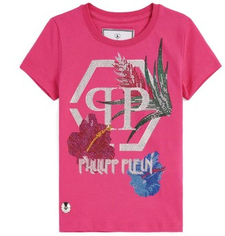 Philipp Plein Junior Diamante Flower T-Shirt