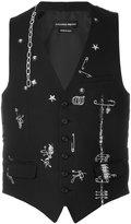Alexander McQueen safety pin waistcoat - men - Cotton/Polyester/Wool - 50