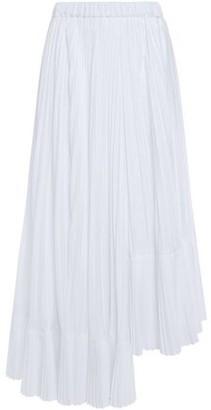 Brunello Cucinelli Asymmetric Pleated Poplin Midi Skirt