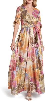 Tahari Floral Shimmer Short Sleeve Gown