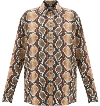 Burberry Carlota Snake-print Mulberry-silk Shirt - Animal