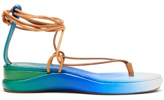 Chloé Degrade Leather Sandals - Womens - Blue Multi