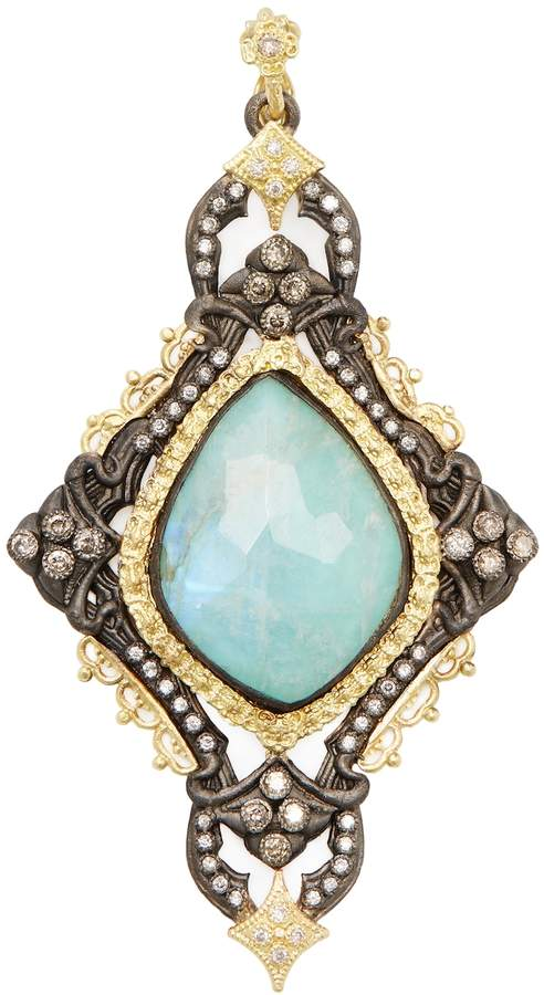 Armenta Women's Old World 18K Gold, Turquoise, Moonstone & 0.64 Total Ct. Diamond Large Carved Cross Enhancer