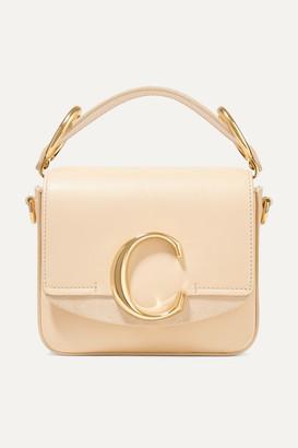 Chloé C Mini Suede-trimmed Leather Shoulder Bag - Cream