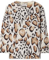Equipment Melanie Overzized Leopard-print Cashmere Sweater