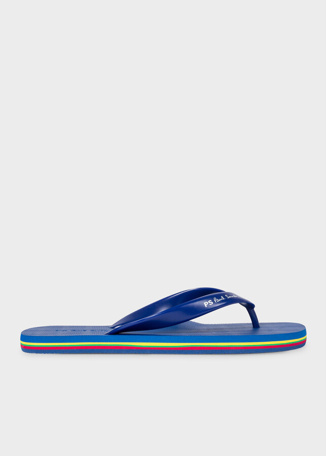 Paul Smith Men's Navy 'Dale' Flip Flops With Multi-Coloured Edge